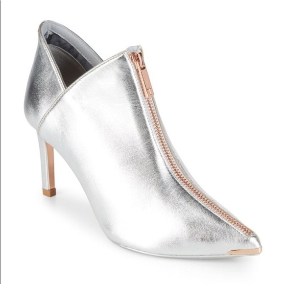 c58483c32a25f0 Ted Baker Millae Metallic Silver Leather Bootie